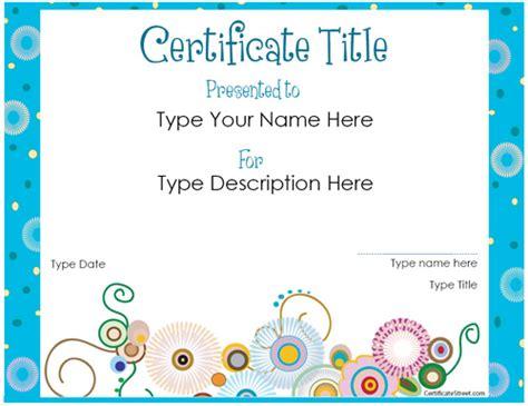 certificate templates for children gift certificate template new calendar template site