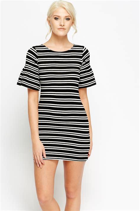 Kefia Stripe Flare Mini Dress flare sleeve stripe mini dress black white just 163 5