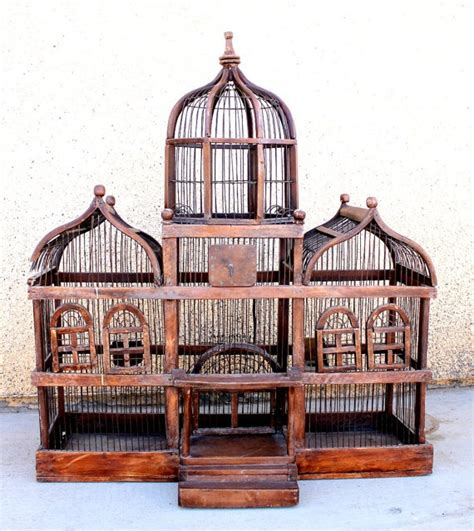 antique wooden birdcage large victorian style vintage