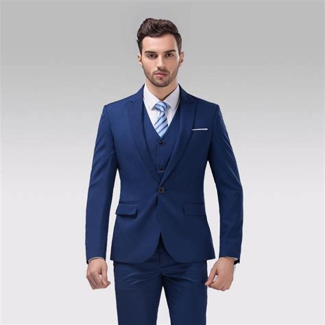 slim fit back vent one button navy groom tuxedos peak