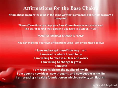 root chakra base chakra affirmations i love and respect myself the