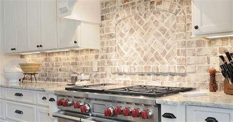 kitchen brick backsplash kitchen  granite countertop