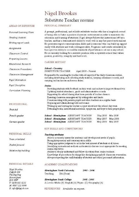 Resume Description Substitute Substitute Resume Exle Template Sle Teaching Pupils Education School