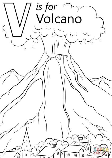 V Is For Coloring Page by V Is For Volcano Coloring Page Free Printable Coloring Pages