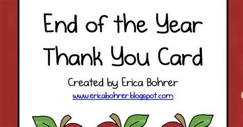 End Of Year Thank classroom freebies end of the year thankyou card