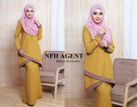 Baju Kurung Moden Kuning Mustard busana muslimah