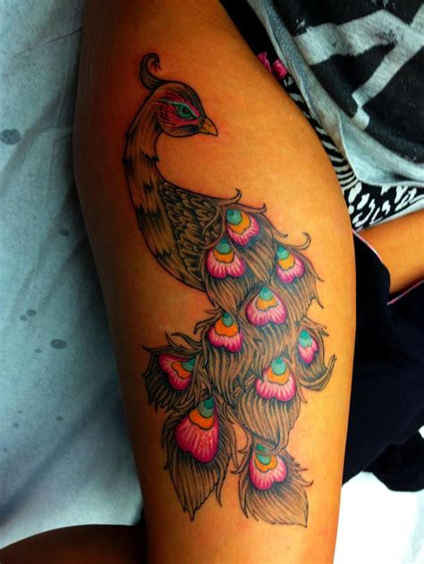 small side tattoos small peacock on thigh www pixshark images