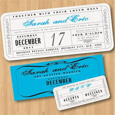 concert invitation card template vintage wedding ticket style invitations diy set