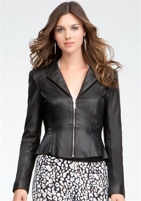 bebe perforated peplum leather jacket in black lyst
