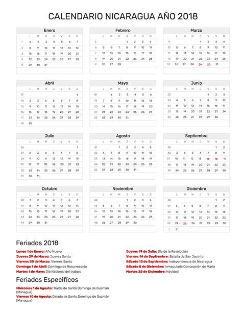 Calendario 2018 Nicaragua Calendario Nicaragua A 241 O 2018 Feriados