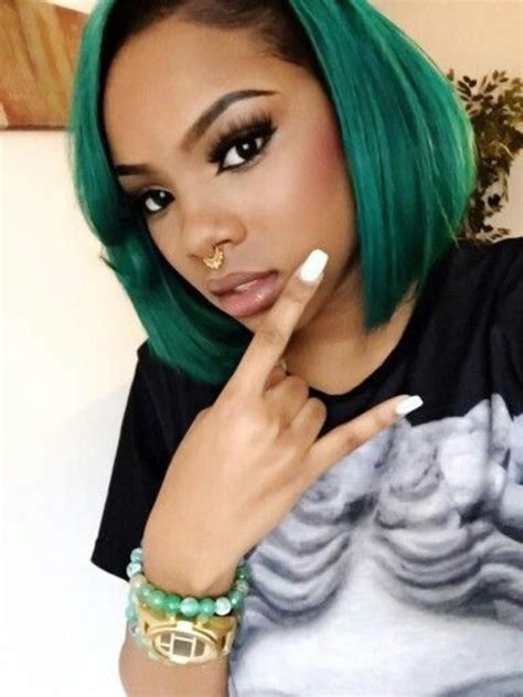 weave bob hairstyle with color hair trend the green and black ombre hair effect