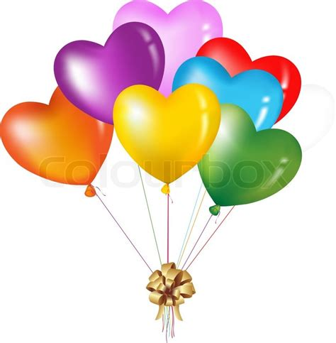 Bunch of colorful heart shape balloons isolated on white stock vector colourbox