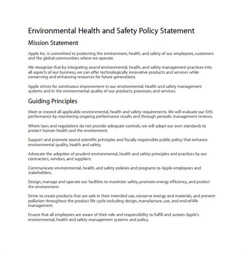 health and safety policy template 11 health and safety policy templates free sle