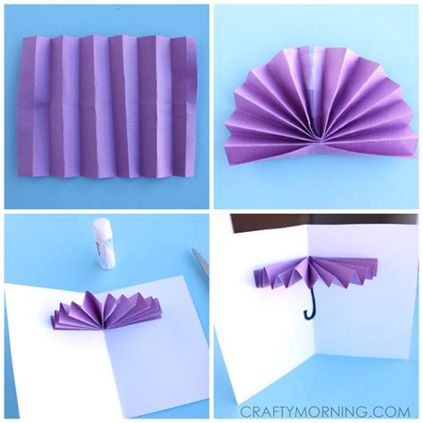 How To Make Paper Umbrellas At Home - 3d umbrella rainy day card for to make crafty morning
