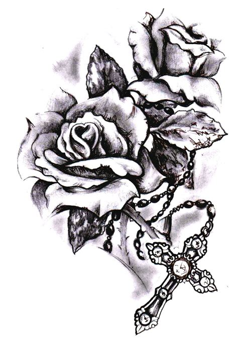 rose and rosary tattoo cross with tattoos cool tattoos bonbaden