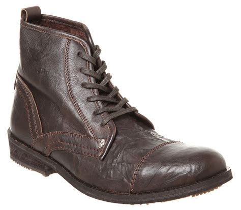 brown leather boots for mens firetrap veloce toe cap work boot brown leather boots