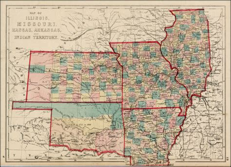 map mo and il map of illinois missouri kansas arkansas and indian