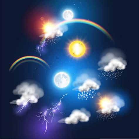 sun and lighting lightning rainbow cloud with moon and sun vector free