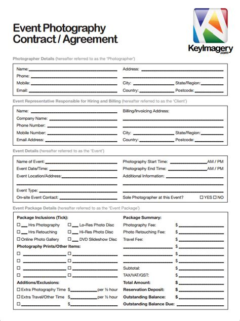 Photography Contract Template 10 Free Word Pdf Documents Download Free Premium Templates Photography Contract Forms Template