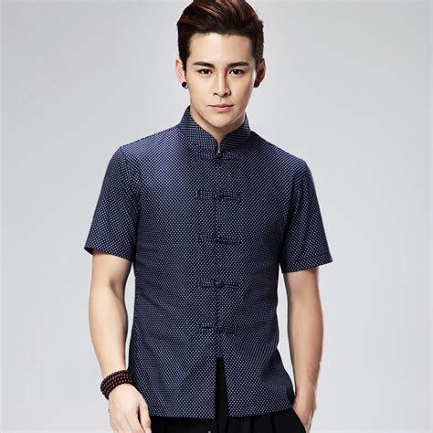 dress shirt picture more detailed picture about asian style dresses modern polka dot frog button chinese tang shirt dark