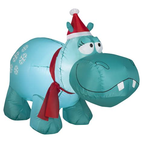 inflatable hippo snowflakes decoration holiday whimsy