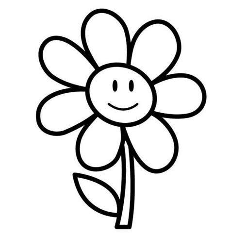 easy coloring pages flowers simple flower coloring pages clipart best