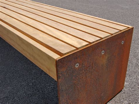 benching 4 plates elements plate end benches and seats timber and steel