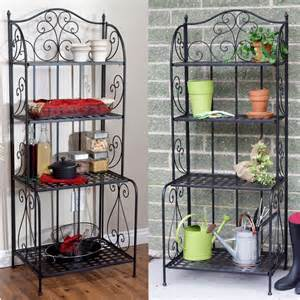 Outdoor Bakers Rack Plant Stand Axon Indoor Outdoor Folding Metal Bakers Rack Plant