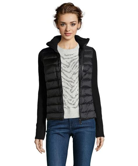 Jaket Sweater Jipper Maroon Rib Black lyst moncler black quilted and rib knit wool blend zip front jacket in black