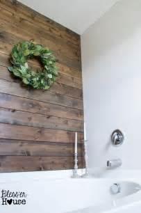 hometalk diy rustic bathroom plank wall