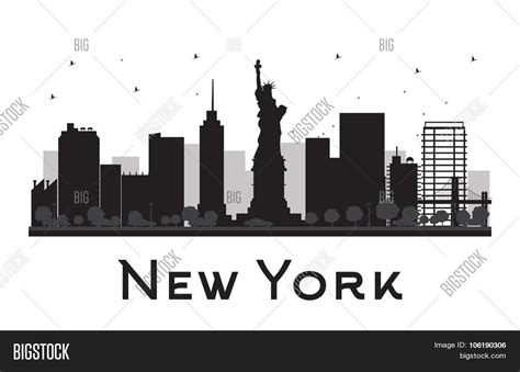 Sosc 1000 York Outline by New York City Skyline Black White Vector Photo Bigstock