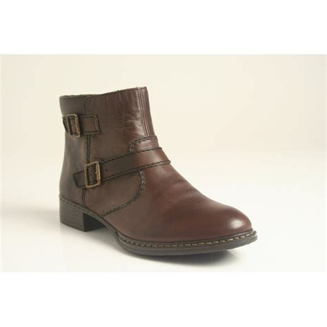 Ankle Leather Booties rieker brown leather ankle boot with zip and fleece