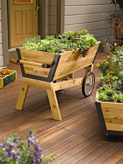 Rolling Planter Boxes by Elevated Garden Box What Are Table Gardens Information