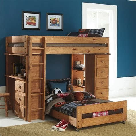 Kids Room Wooden T Shaped Bunk Bed Features Desk With