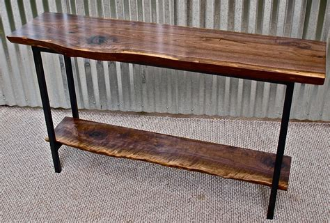 live edge black walnut sofa table steel frame witness