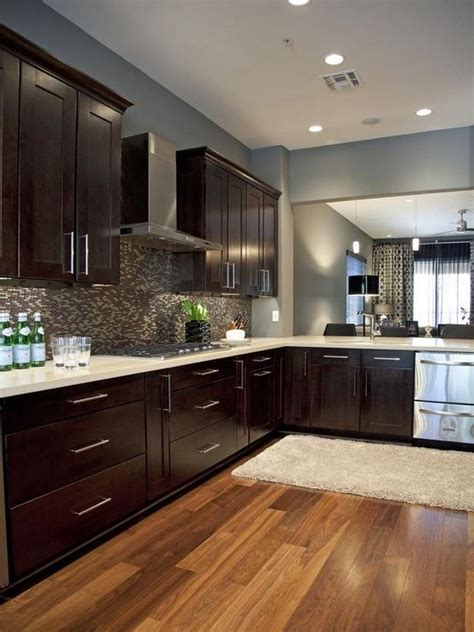 espresso cabinets and blue gray wall paint home decor grey walls cabinets and