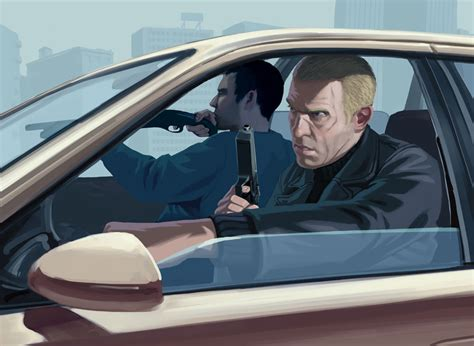 drive shoot drive by shooting characters art grand theft auto iv