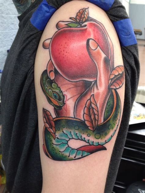 tattoos are a sin original by donnynewmantattoos snake and apple