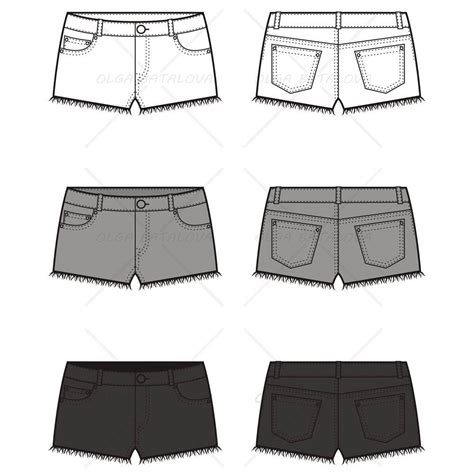 women s cut off jean shorts fashion flat template