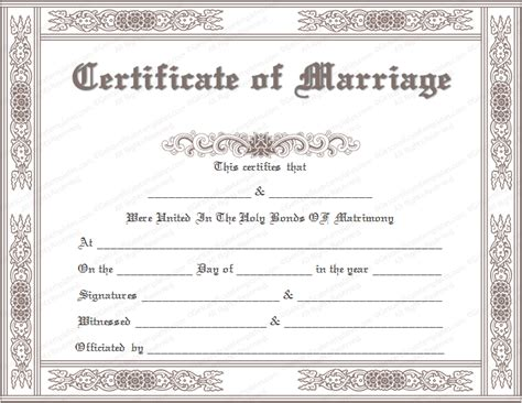 wedding certificates templates classic marriage certificate template