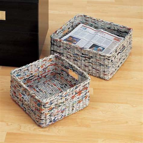 Make Paper Basket - newspaper basket weaving cesteria