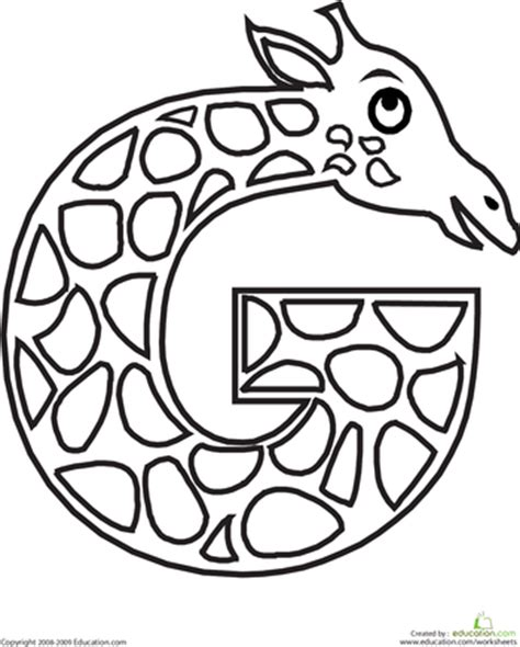alphabet coloring pages g animal alphabet letters coloring pages education com