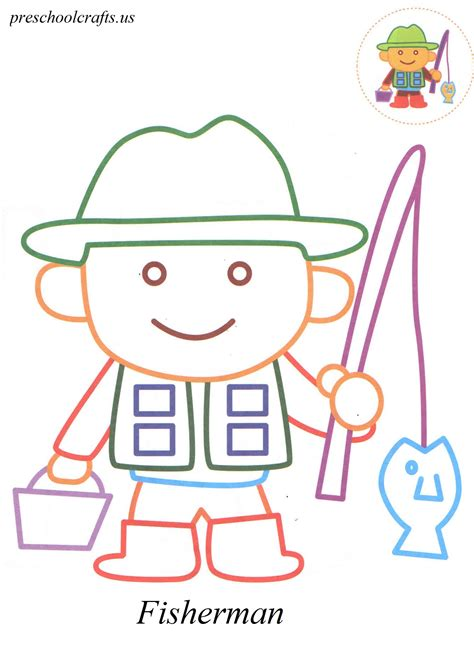 coloring crafts fisherman coloring pages preschool crafts