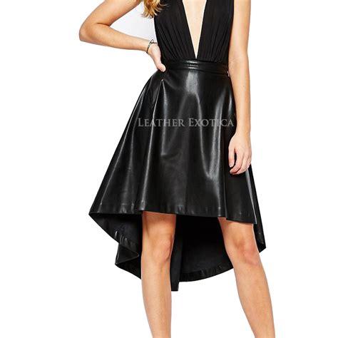 high low hem leather skirt for