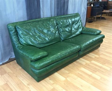 green leather couch vintage roche bobois green leather sofa and lounger at 1stdibs