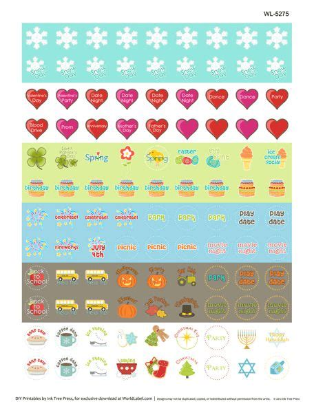 free printable planner labels printable calendar stickers lots of different ones at