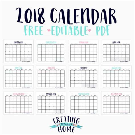 editable 2018 calendar template free 2018 calendar editable pdf creatingmaryshome