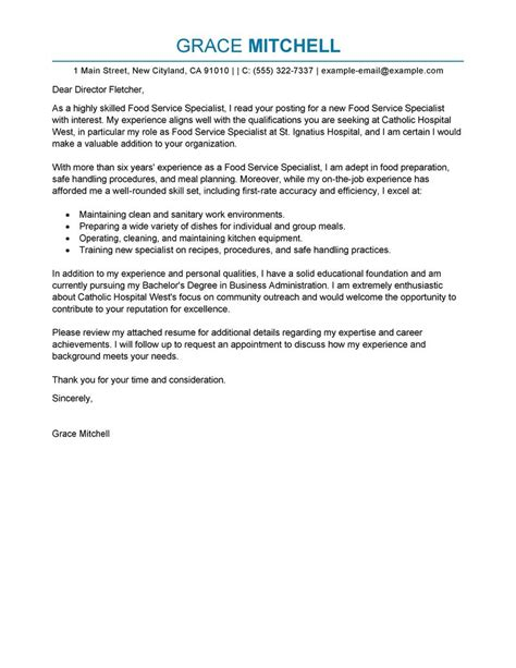 Service Letter Format For Accountant Best Food Service Specialist Cover Letter Exles Livecareer