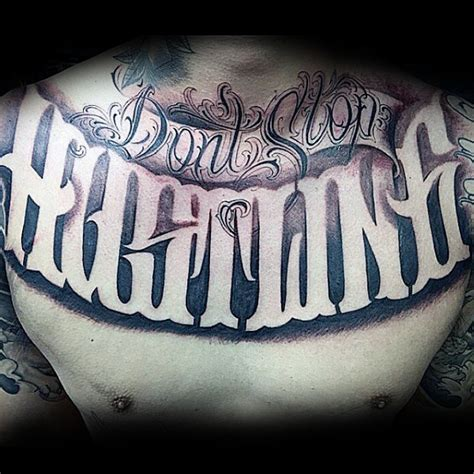 tattoo script ideas for men guys hustling script chest designs caligrafia