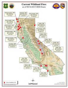 map of california fires currently burning cal sunday morning august 16 2015 report on